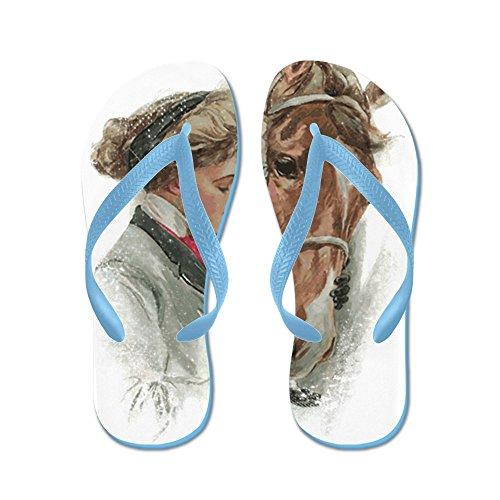 Cafepress Vintage Meisje En Paard - Flip Flops, Grappige String Sandalen, Strand Sandalen Caribbean Blue