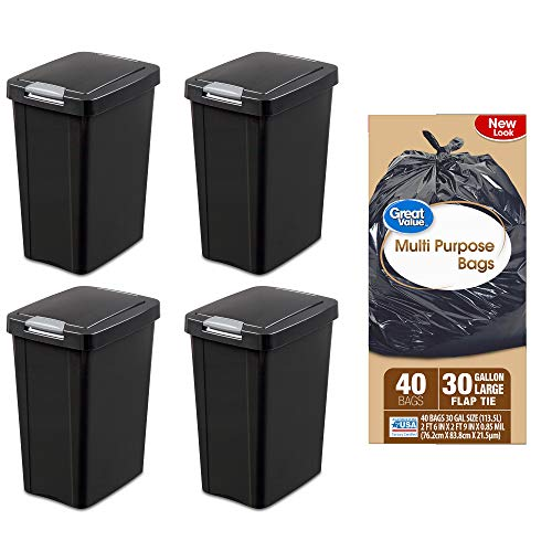 Sterilite, 7.5 Gal./28 L TouchTop Black Wastebasket, Case of 4 Bundle with Great Value Large Multi-Purpose Flap Tie Trash Bags in 30-Gallon, 40 Count