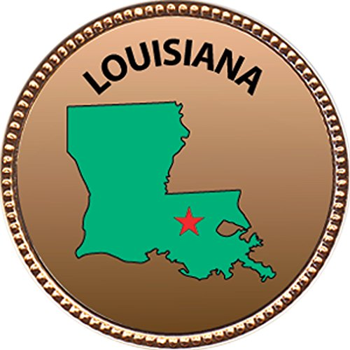 - Keepsake Awards Louisiana Award, 1 inch Dia Gold Pin State Studies Collection