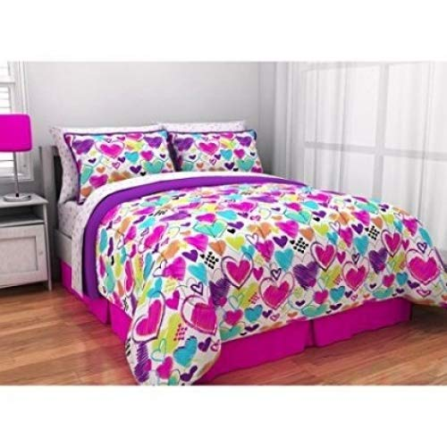 Latitude Teen Reversible Bright Pink, Purple, White Hearts Bedding Twin XL Comforter for Girls (5 Piece in Bag)