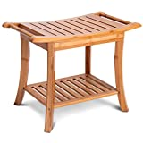 2 Tiers Bath Shower Seat Bench Elderly Handicapped People Hospital Medical Chair Multipurose Multifunctional Versatile Sauna Spa Bath Organizer Bottom Extra Storage Shelf Solid Bamboo Construction