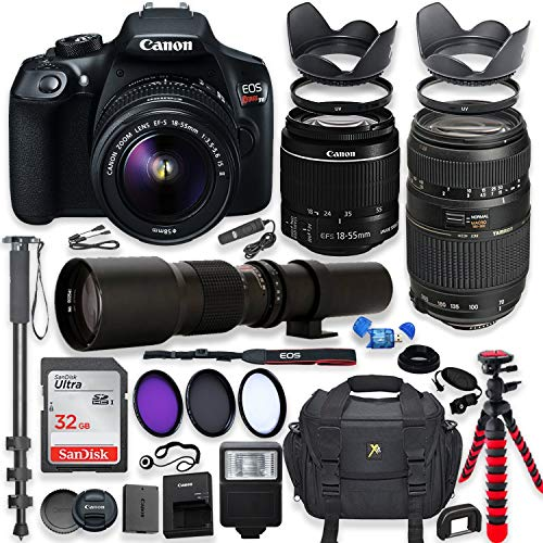 Canon EOS Rebel T6 DSLR Camera with 18-55mm is II Lens Bundle + Tamron 70-300mm f/4-5.6 Di LD Macro AF Lens & 500mm Preset Lens + 32GB Memory + Filters + Monopod + Spider Tripod + Professional Bundle