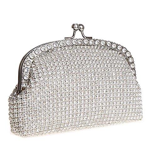 KAXIDY Damen Abendtasche Handtasche Damentasche Unterarmtasche Strassbesatz Handtasche Diamanten Silber