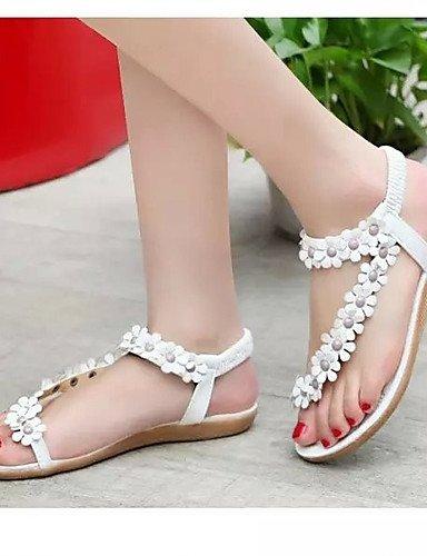 ShangYi Women's Shoes Leatherette Flat Heel Flip Flops Flip-Flops Outdoor Black / Red