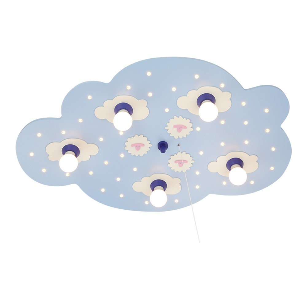 Elobra Wolkenlampe Schäfchenwolke LED 5/40 Hellblau Himmelblau | LEDs fest verbaut Inklusive Leuchtmittel: E14 40W | 124239