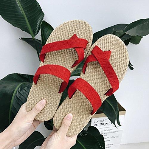 uomini fankou pantofole 39 e Estate casual pantofole coppie toe rosso un set biancheria cool zrPz8qA