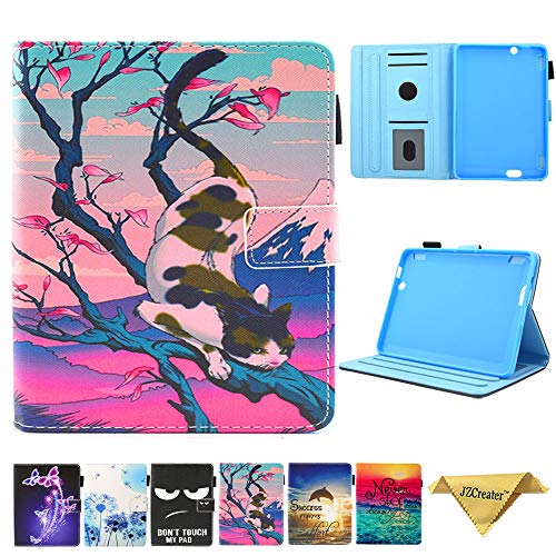 Folio Case for Kindle fire HDX 7, JZCreater Slim Leather Smart Case Cover with Auto Wake/Sleep for Amazon Kindle Fire HDX 7.0 Inch 3rd Generation Tablet, Cat (Kindle Fire Hdx Cases And Covers)