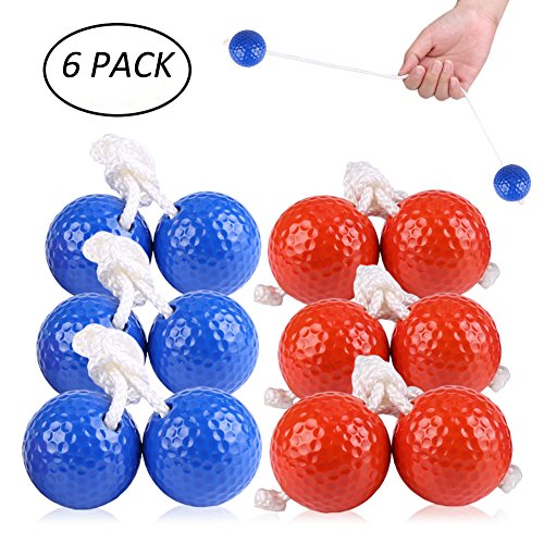 VC-Time Ladder Toss Ball, Ladder Toss Ball Ladder Balls Bolos Bolas Ladder Golf With Real Golf Balls, 6 Pack Red and Blue Toss Ball by VC-Time