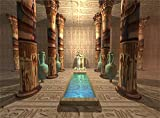 Leowefowa 10X8FT Ancient Egyptian Temple Interior Blue Vase Frescoes Backdrop Hand Paint Mural Painting Carving Hieroglyphics Culture Historic Vinyl Photography Background Adults Photo Studio Props