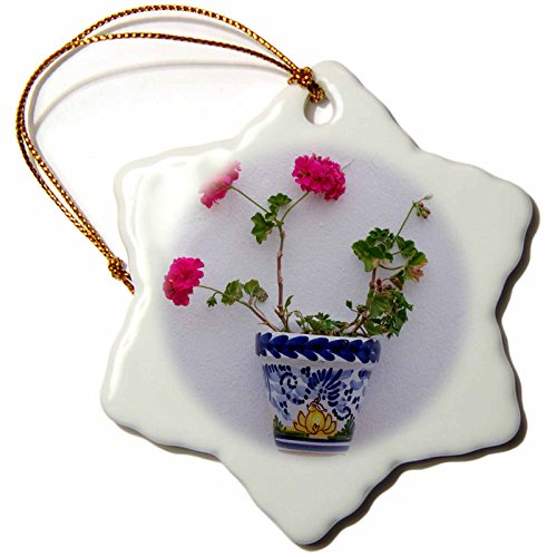 3dRose Danita Delimont - Flowers - Spain, Andalusia. Arcos de la Frontera. Painted ceramic flower pot. - 3 inch Snowflake Porcelain Ornament (orn_277888_1) by 3dRose