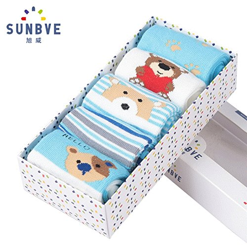 Five pairs of socks Gift Box Xu Wei in spring and autumn man boy child socks baby socks newborn baby socks relent by Generic