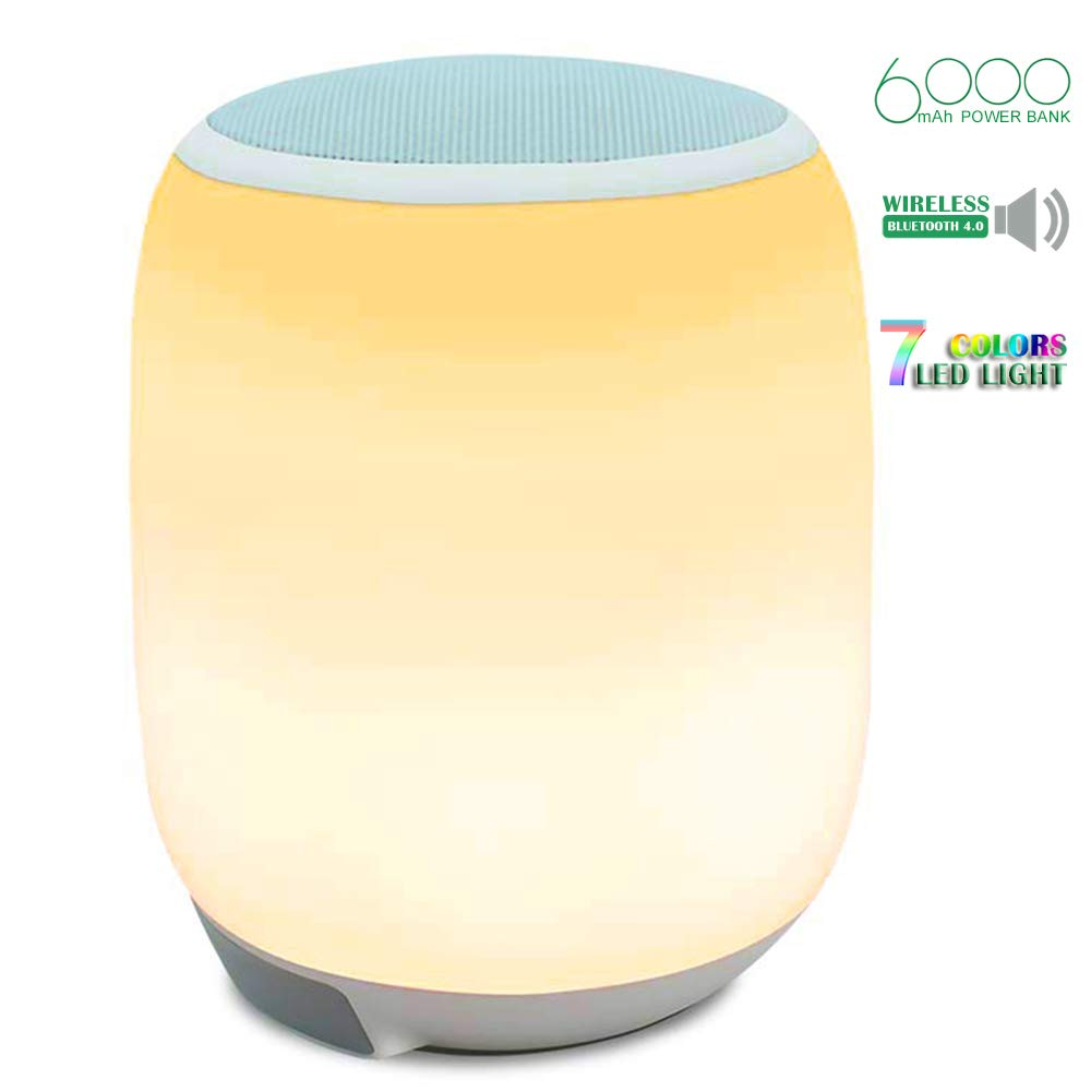 Zoeson LED Bluetooth Speaker, Portable Wireless Speaker Night Light with 6000mAh Power Bank, Color Changing Bedside Lamp Table Lamp Smart Touch Mood Lamp Waterproof for Party/Bedroom/Outdoor