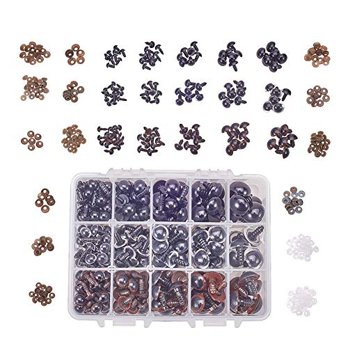 PH PandaHall 8-16mm 548pcs Plastic Safety Eyes 3 Color Craft Safety Eyes with Washers for Doll, Puppet, Plush Animal and Teddy Bear Craft Making