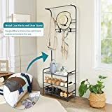 alvorog Entryway Coat Rack Shoe Bench, 3-in-1 Hall