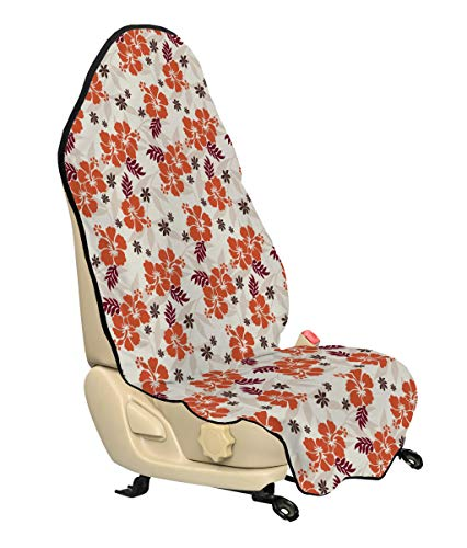Lunarable Hawaiian Car Seat Cover, Holiday Beach Romance Resort Warm Colors Leaf Modern Design Illustration, Car Truck Seat Cover Protector Nonslip Backing Universal Fit, Cream Orange Ruby