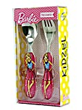 Kidzel- Pink Barbie Cutlery set for kids - set of Stainless Steel Fork and Spoon for girls. Perfect Gift for girls.
