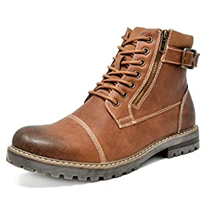 Bruno Marc Men's Engle-05 Brown Motorcycle Combat Oxford Boots Size 13 M US