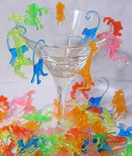 - Plastic Mixed Animal Cocktail Drink Markers/Charms (72)