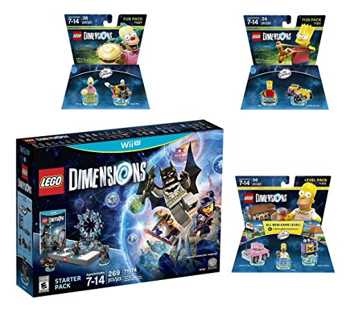 Price comparison product image Lego Dimensions Starter Pack + The Simpsons Homer Level Pack + Bart Simpson + Krusty Fun Packs for Nintendo Wii U Console