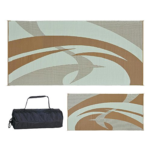 Reversible Mats Outdoor Patio / RV Camping Mat - Swirl (Brown/Beige, 9-Feet x 18-Feet)