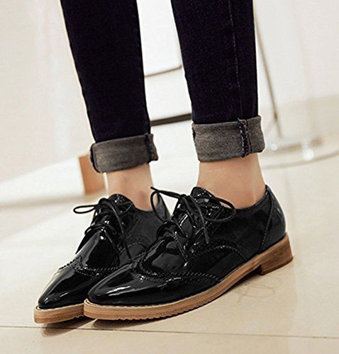 Retro Hollow CHFSO Oxfords Pointed Out Shoes Lace Casual Women's Up Black Toe 5qww6xtRB