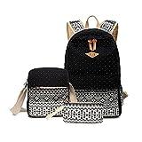 Moore Canvas Tribal Stripes Travel Daypack Polka Dot Campus Backpack 3 Pcs Set (Black)