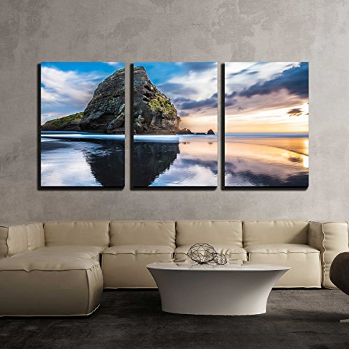 """Wall26 - 3 Piece Canvas Wall Art - Piha Beach at Sunset Auckland, New Zealand - Modern Home Decor Stretched and Framed Ready to Hang - 16""""x24""""x3 Panels"""