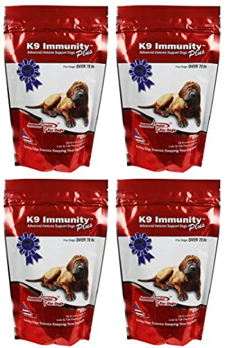 Aloha Medicinals - K9 Immunity Plus - Potent Immune Booster For Dogs Over 70 Pounds - Certified Organic – Mushroom Enhanced Supplement - Veterinarian Recommended Dog Health Supplement –90 Chews 4 Pack