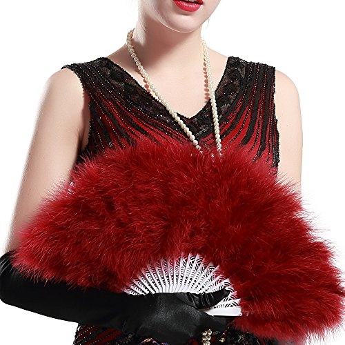 BABEYOND Roaring 20s Vintage Style Folding Handheld Marabou Feather Fan Flapper Accessories (Wine (Fancy Fan)