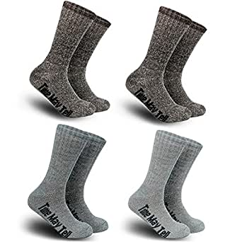 2 Pairs Wool Thermal Thick Hiking Crew Winter Athletic Socks for Men&Women (2Brown,grey,dark grey, US Size 9~12)