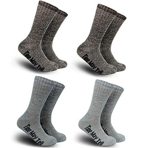(Time May Tell Mens Merino Wool Hiking Cushion Socks Pack (2/4 Pair,6-13 Size) (2Brown,Light Grey,Dark Grey(4 pairs),US Size 9.5~13))