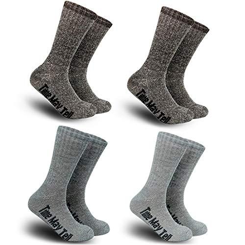 Time May Tell Mens Merino Wool Hiking Cushion Socks Pack (2/4 Pair,6-13 Size) (2Brown,Light Grey,Dark Grey(4 pairs),US Size 9.5~13)