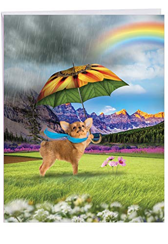 Jumbo All Occasions Card: Raining Dogs Rain, Rainbows and Umbrella Days, With Envelope (Big Size: 8.5