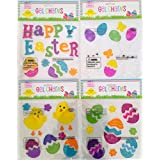 Easter Spring Window Clings Gel Decoration Pack: Bunny, Chicks, Eggs, Flowers, Butterfly