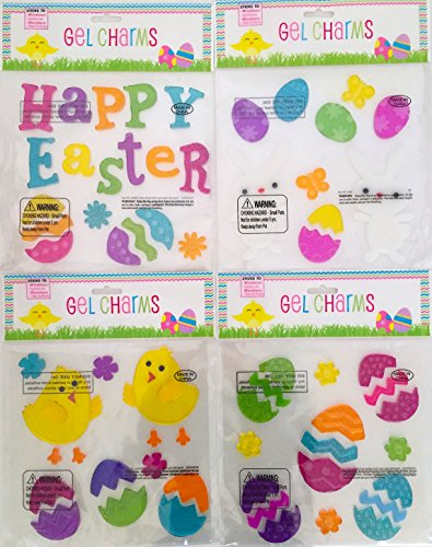 [Easter Spring Window Clings Gel Decoration Pack: Bunny, Chicks, Eggs, Flowers, Butterfly] (Bunny Window)
