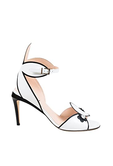 9cc12028998f Image Unavailable. Image not available for. Color  Fendi Women s White   Black  Leather Floral Crystal Flowerland Sandals ...
