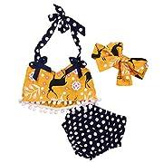 Baby Girls 3pcs Swimwear Bikini Sets Halter Pom Top+Dot Bottom+Bow Headband (0-6months, Yellow&Blue)