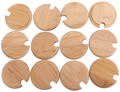Dedoot 12PCS Wood Lids for Mason Jars, Wooden Mug Cover, Glass Jar Wood Drink Cup Lid with Spoon Hole (φ2.6IN) by Dedoot (Image #7)
