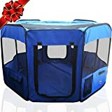 ToysOpoly 45' Indoor/Outdoor Pet Playpen Cage. Best Exercise Kennel for Your Dog, Cat, Rabbit, Puppy, Hamster or Guinea Pig. Portable for Easy Travel. (Blue)