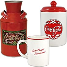 (Set) Coke Ceramic Coffee Mug, Cookie Jar And Retro Coca-Cola Tin Milk Can