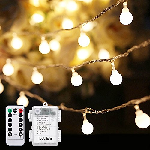 Tobbiheim 22.96 ft Globe String Lights 50 LED 8 Modes Waterproof Battery Operated Ball Fairy Light IP68 Battery Case with Remote and Timer for Outdoor & Indoor - Warm White(Battery Not Included)