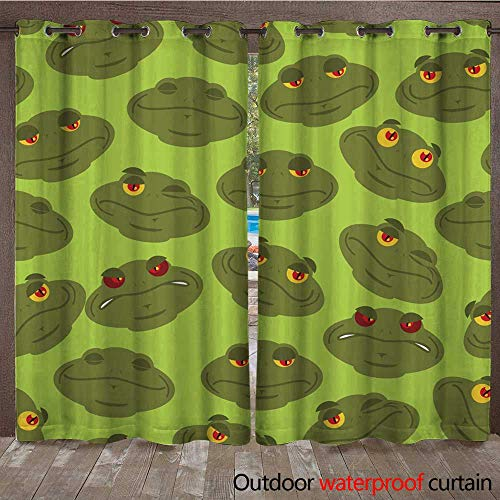 (RenteriaDecor Outdoor Ultraviolet Protective Curtains Frog Seamless Pattern Amphibian Ornament Toad Texture Head of Reptilian Background W84 x L108)