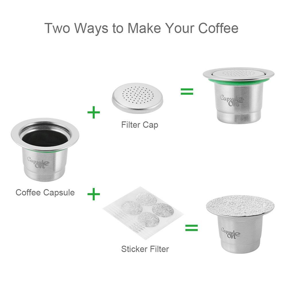 Capsulone Capsules Reutilisables en Acier Inoxydable avec 1x Bouchon de Filtre en Acier Inoxydable 20 x Capuchon de Filtre Autocollant pour machines a cafe Nespresso