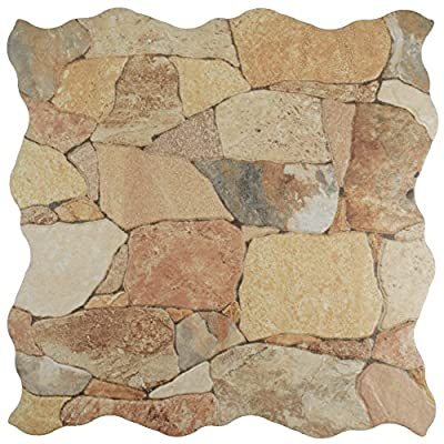 "SomerTile FAZ18ATB Roccia Ceramic Floor and Wall Tile, 17.75"" x 17.75"", Brown/Tan"