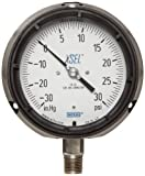 WIKA 9834745 Process Pressure Gauge, Dry-Filled, Stainless Steel 316L Wetted Parts, 4-1/2'' Dial, 30''Hg-0-30 psi Range, +/- 0.5% Accuracy, 1/2'' Male NPT Connection, Bottom Mount
