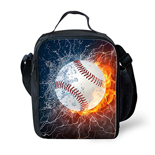 Instantarts Thermal Insulated Lunch Box Tote Bag Baseball Men Kids Boys Lunchbox ()