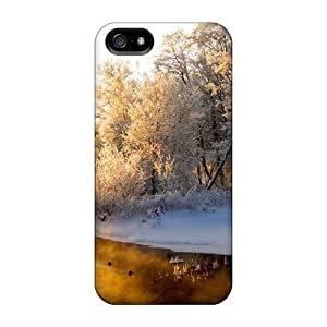 Special Design Back Frosty Day Forest And Stream Phone Case Cover For Iphone 5/5s