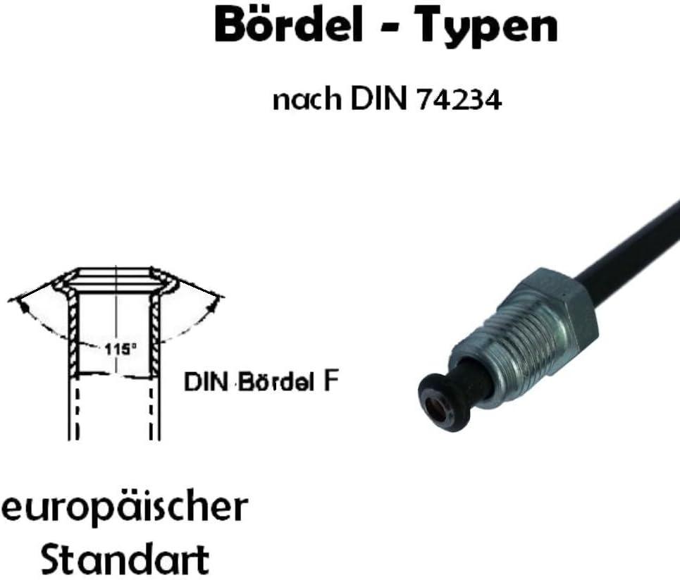 3050mm choix Longueur 180 mm Tuyau de Frein /Ø 4,75 mm en Acier cuivr/é rev/êtu /évasure DIN type F conduite de freins DIN 74 234 tuyaux des canalisations de freins 150mm