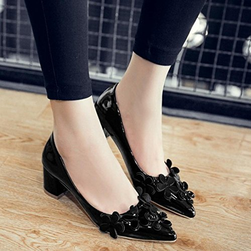 Pointed Heel Slip Mid Casual Block Women Shoes Court Flowers Black TAOFFEN On Toe qwxUngq