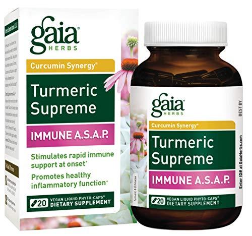 Gaia Herbs Turmeric Supreme Immune A.S.A.P, Vegan Liquid Capsules, 20 Count - Turmeric Curcumin Immune Support with Echinacea, Sambucus Black Elderberry, Ginger Root